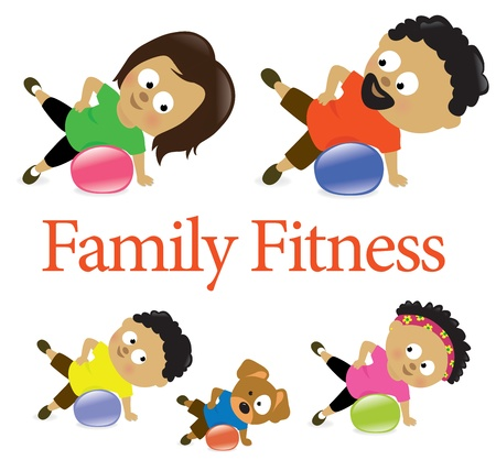 health and fitness: Family fitness with exercise ball