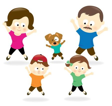 Familie doet jumping jacks Stock Illustratie