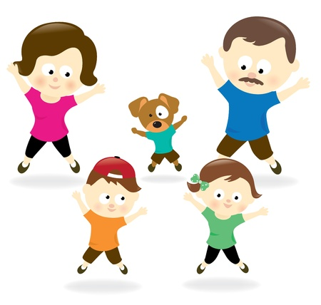 jacks: Family doing jumping jacks