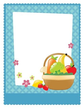 basket: Fruit and veggie basket flyer Illustration