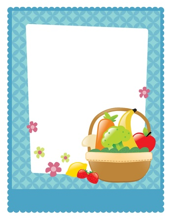 Fruit and veggie basket flyer Vettoriali