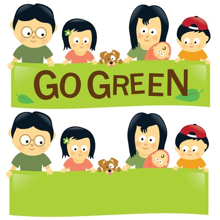 asian family: Go green family 2 Illustration