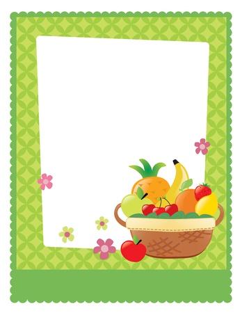 canasta de frutas: Cesta de fruta plantilla del aviador