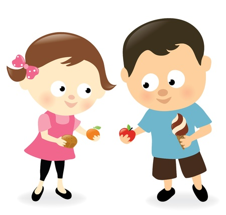 kids eating: Girl and boy sharing sweets and fruits