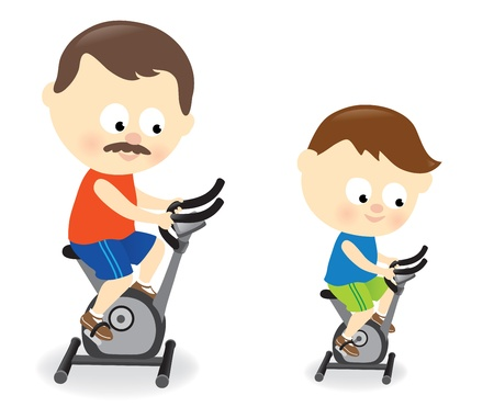 Father and son riding exercise bike Stock Vector - 19729465