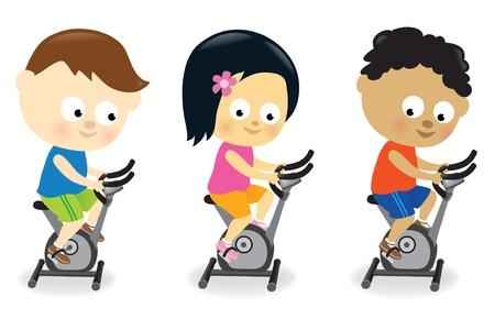 Kids riding exercise bikes