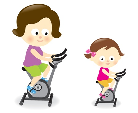 Mother and daughter riding exercise bikes Stock Vector - 19834229