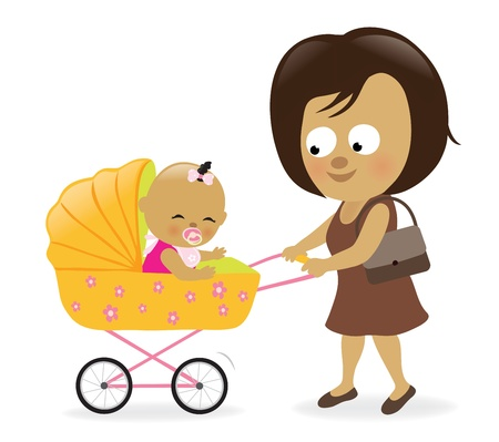 infant: Woman with baby carriage Illustration