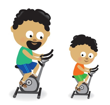 Father and son riding exercise bikes Vector