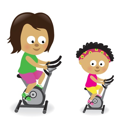 Mother and daughter riding exercise bikes Vector