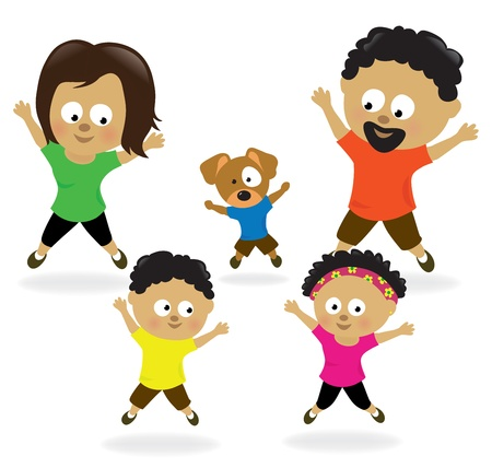 health and fitness: Family doing jumping