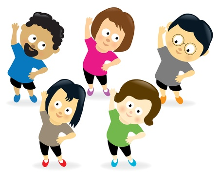 exercise cartoon: Adults exercising