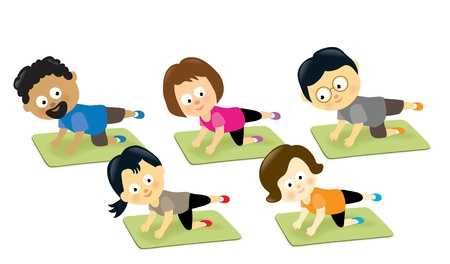 Adults exercising on mats Stock Vector - 20270260