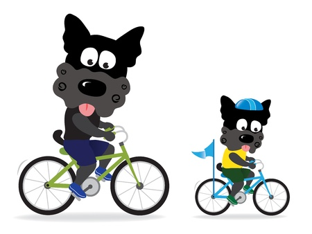 move forward: Dogs riding bikes