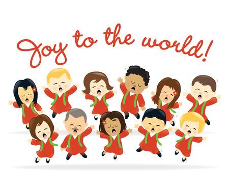 クリスマスの聖歌隊  イラスト・ベクター素材