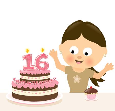 Surprise Sixteen Birthday Illustration