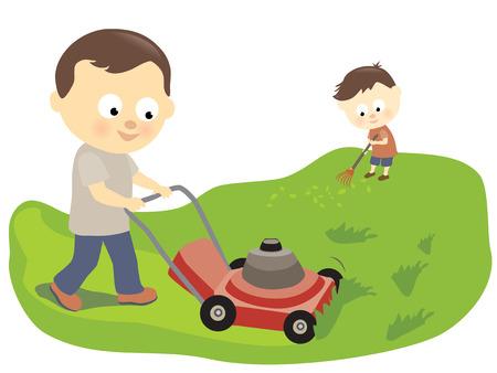 아버지와 아들 잔디 깎기 및 긁어 일러스트