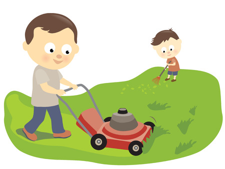 Father and son mowing and raking Vector