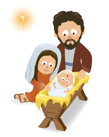 Baby Jesus, Mary and Joseph Vector