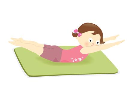 Girl exercising on mat Vector