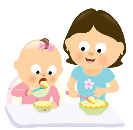 eating food: Neonata che mangia w mamma guardando il suo