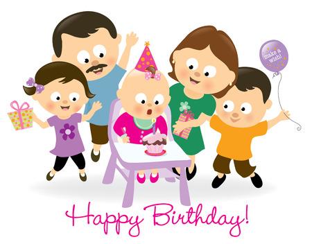 little girl sitting: Birthday baby girl and family