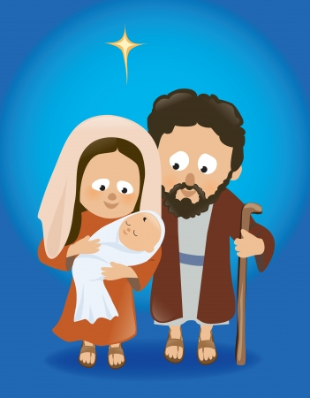 birthday religious: Baby Jesus with Mary and Joseph Illustration