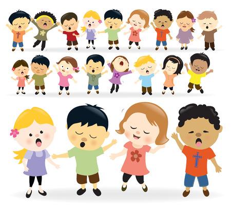 Groupe d'enfants chantant Vecteurs