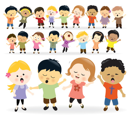 bambini felici: Gruppo di bambini che cantano Vettoriali