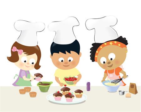 boy child: Bambini cottura Cupcakes Vettoriali