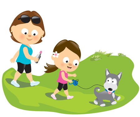 Mother and daughter walking the puppy Stock Vector - 24540930