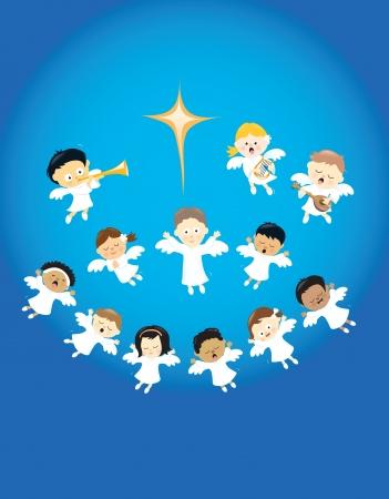 nacimiento de jesus: Los ángeles alabando el nacimiento de Jesús
