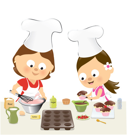 Mother and daughter baking cupcakes Vector