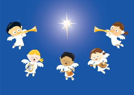 Angels singing and playing instruments Vector