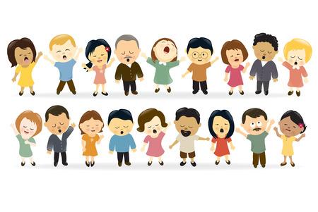 adultos: Grupo de gente cantando