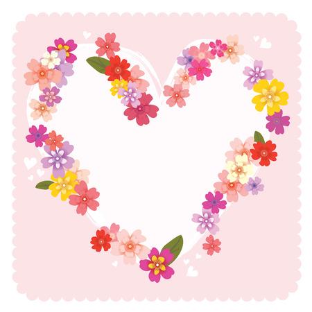 Floral heart frame Ilustrace