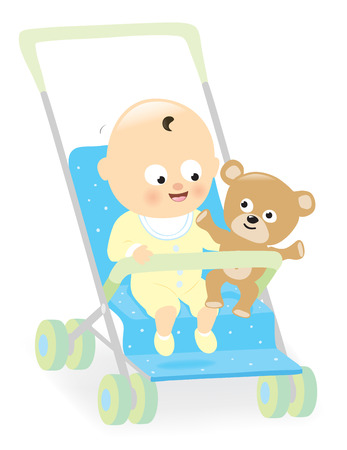 stroller: Baby boy in stroller with teddy bear