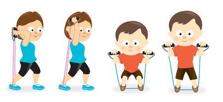 La mujer y el hombre en el ejercicio con tubos de bandas de resistencia