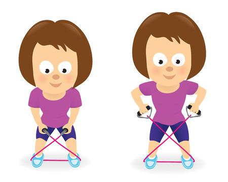 mujer ejercitandose: Mujer en el ejercicio de resistencia del tubo