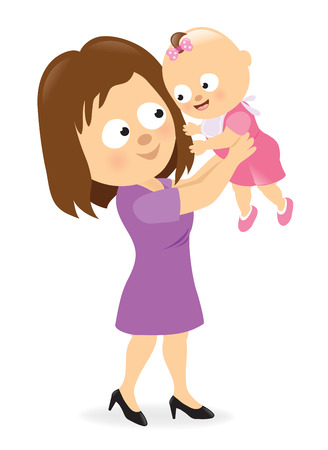 mother holding baby: Mother holding up her baby girl  Illustration