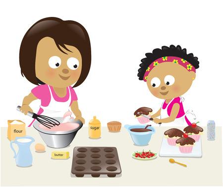 Mother and daughter baking Reklamní fotografie - 26031182