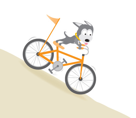 Dog biking downhill Stock Vector - 27561704