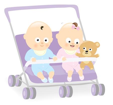 gemelos niÑo y niÑa: Gemelos del bebé en el cochecito con el oso de peluche