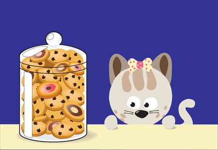 Kitty likes cookies Vector