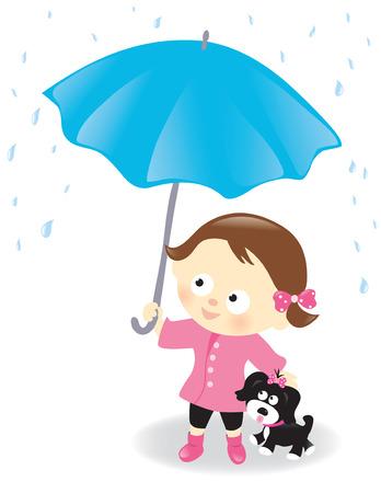 Girl and puppy with umbrella Ilustração