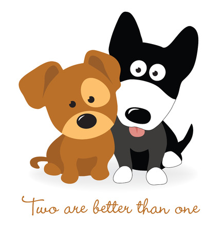 Best friends - two puppies Illustration