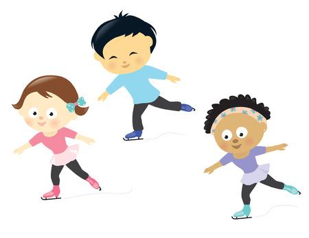 niño en patines: Niños patinaje sobre hielo