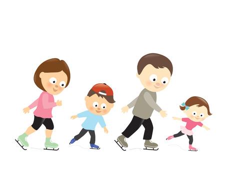 Family ice skating Illustration