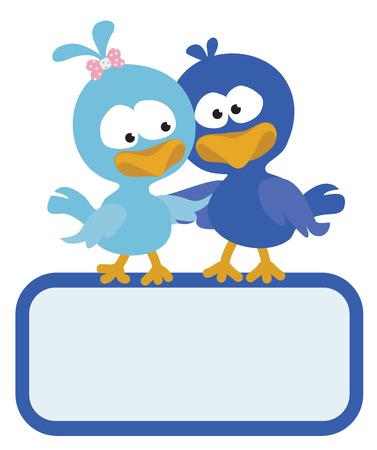 Two birds with sign Reklamní fotografie - 35469081