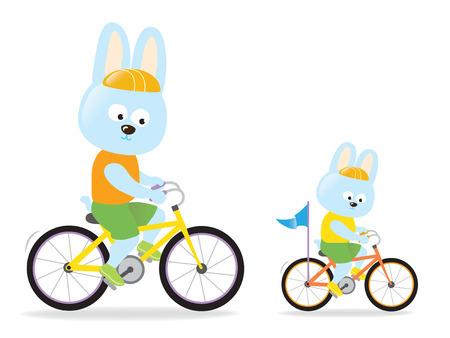 Bunnies biking Reklamní fotografie - 37344214